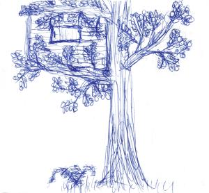 Ein gezeichnetes Baumhaus